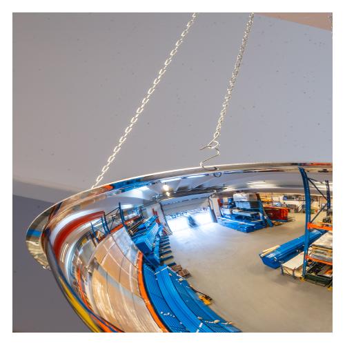 Industrispejl 360 grader til ophæng i loft. Ideel til lager og produktion. Detalje af krogophæng.