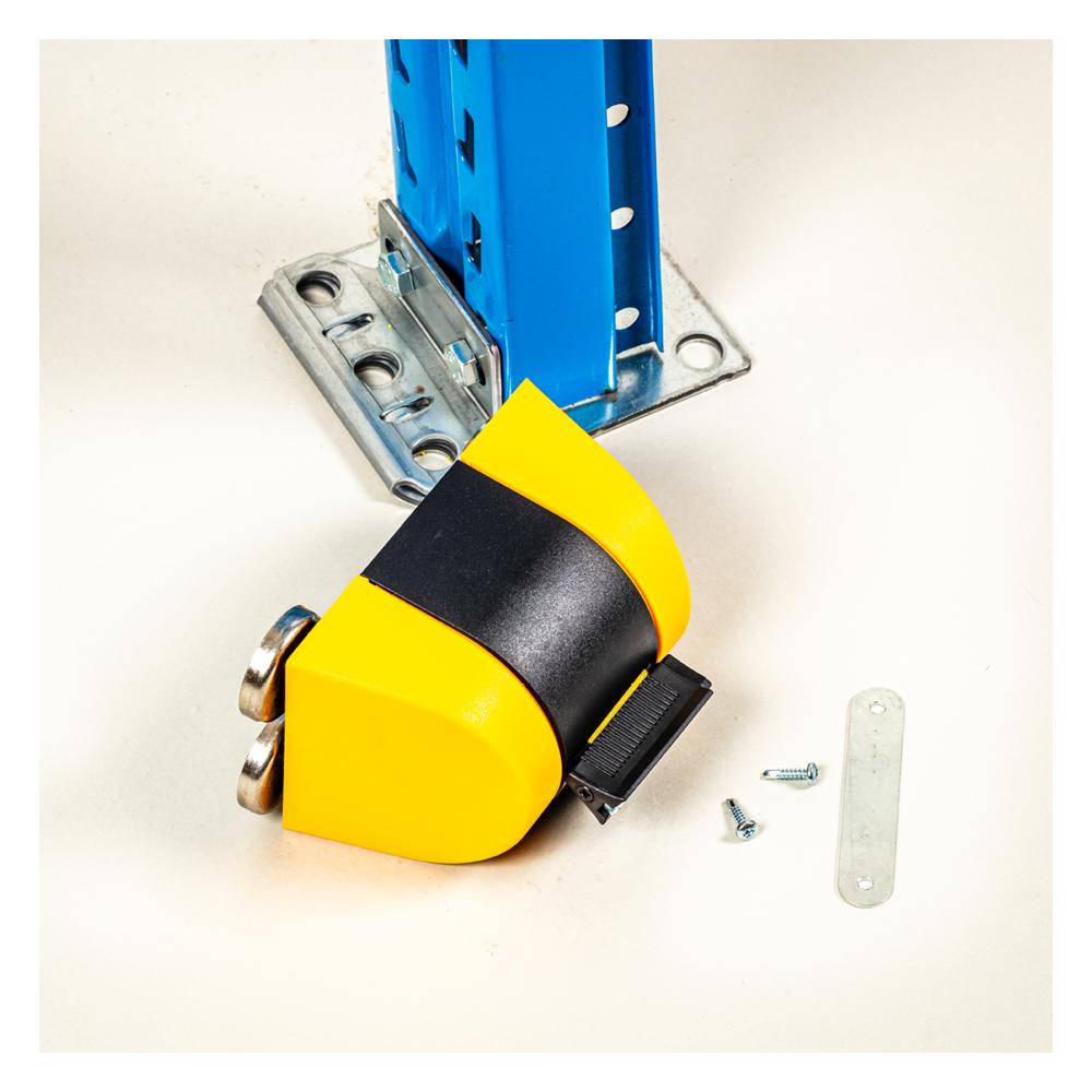 Afspærringsbånd gul sort inklusiv beslag til skruer.